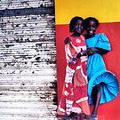 Girls on a Windy Street in Senegal by Wayne King