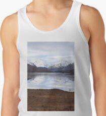 Lake reflecting Scottish Mountains  Tank Top