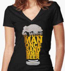MMM BEER! Funny Geek Nerd Women's Fitted V-Neck T-Shirt
