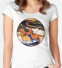 Violin And Bugle Women's Fitted Scoop T-Shirt