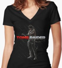 Lara Croft Tomb Raider Women's Fitted V-Neck T-Shirt