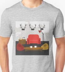 Modern Interior. Living Room in Grunge Style. Room Design with Furniture.  Unisex T-Shirt
