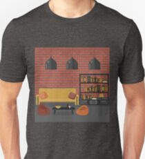 Modern Interior. Living Room in Grunge Style. Room Design with Furniture and Book Shelves.  Unisex T-Shirt