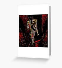 5360s-MAK 3745 Abstract Art Nude Woman Walking Away Red Greeting Card