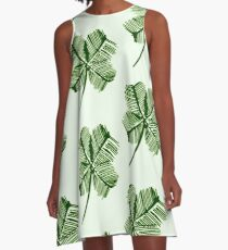 Lucky Shamrock Pattern A-Line Dress