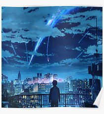 kimi no na wa // your name Taki Stars Balcony  Poster