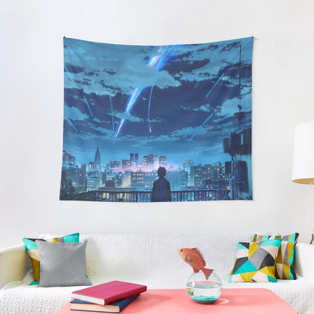 kimi no na wa // your name Taki Stars Balcony  Tapestry