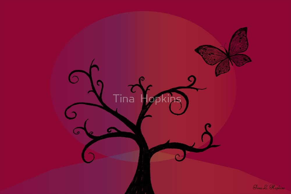 Last Tree Standing - Red by Tina  Hopkins