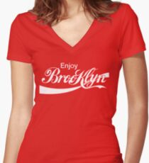 ENJOY BROOKLYN*red/wht Women's Fitted V-Neck T-Shirt