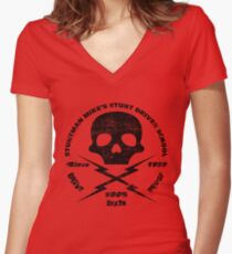 Stuntman Mike's Stunt Driver School Women's Fitted V-Neck T-Shirt