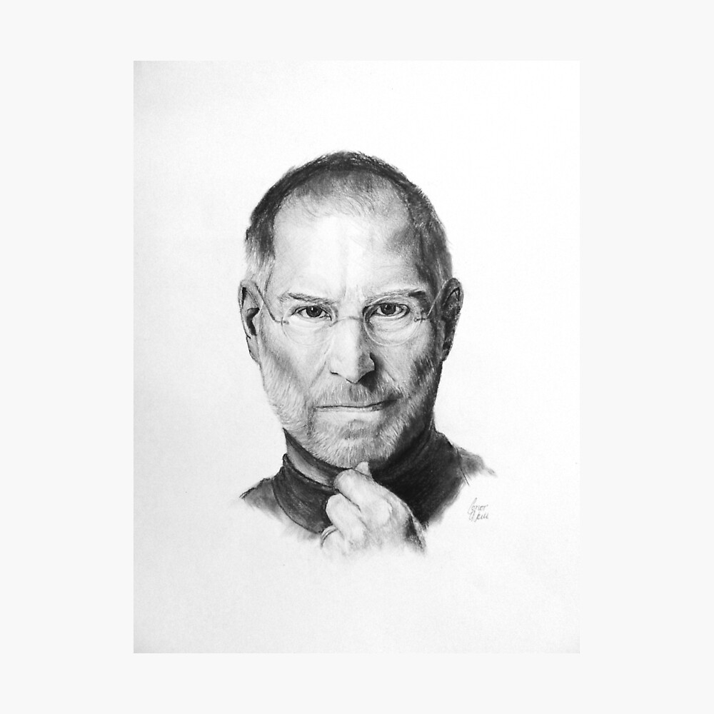 Steve jobs pencil drawing photographic print by oneillartdesign redbubble