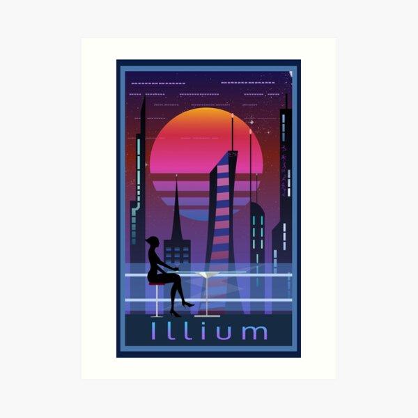 Mass Effect Illium Travel Poster Fan Art Art Print