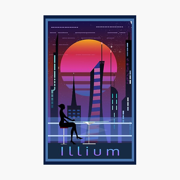 Mass Effect Illium Travel Poster Fan Art Photographic Print