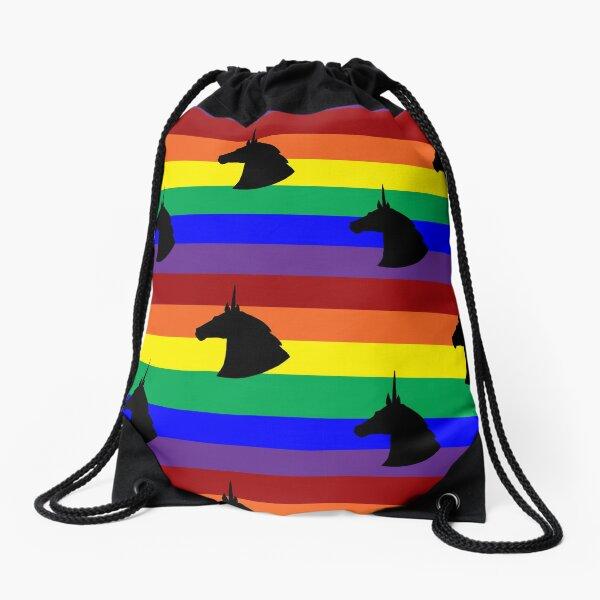 Unicorn Rainbow Polka-dots! Drawstring Bag