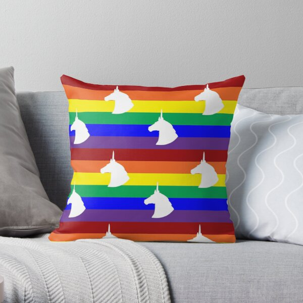 Unicorn Rainbow Polka-dots! Throw Pillow