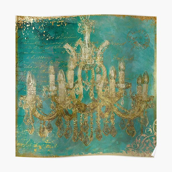 Teal and Gold Chandelier Poster