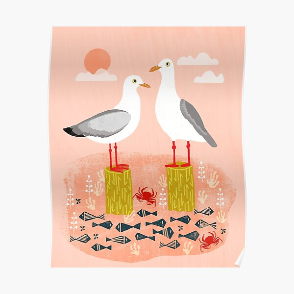 Seagulls - Bird Art, Coastal Nautical Summer Bird Print by Andrea Lauren Poster