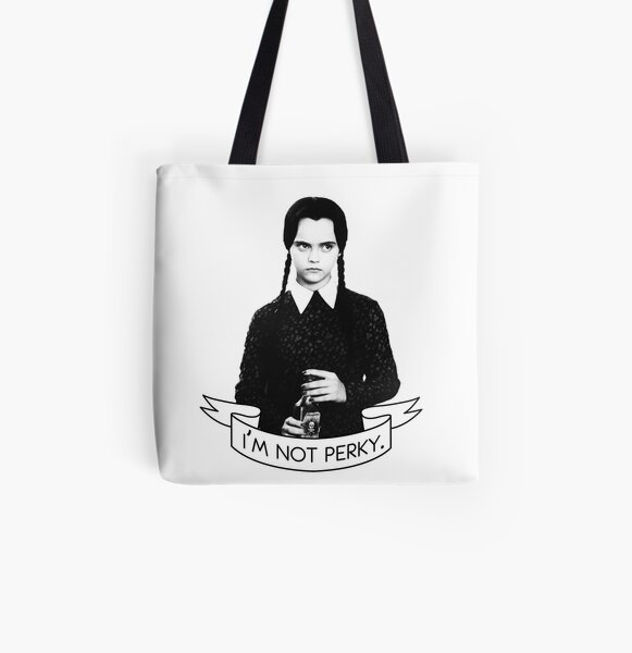 wednesday addams - i'm not perky All Over Print Tote Bag
