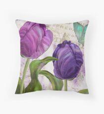 Purple Parrot Tulips Throw Pillow
