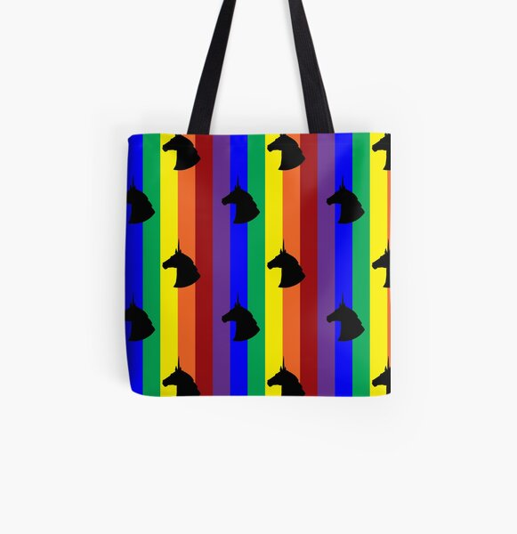 Rainbow Unicorn! Vertical Stripes! All Over Print Tote Bag