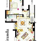 "Floorplan of Miranda's apartment from BBC's ""MIRANDA"" sitcom by Iñaki Aliste Lizarralde"