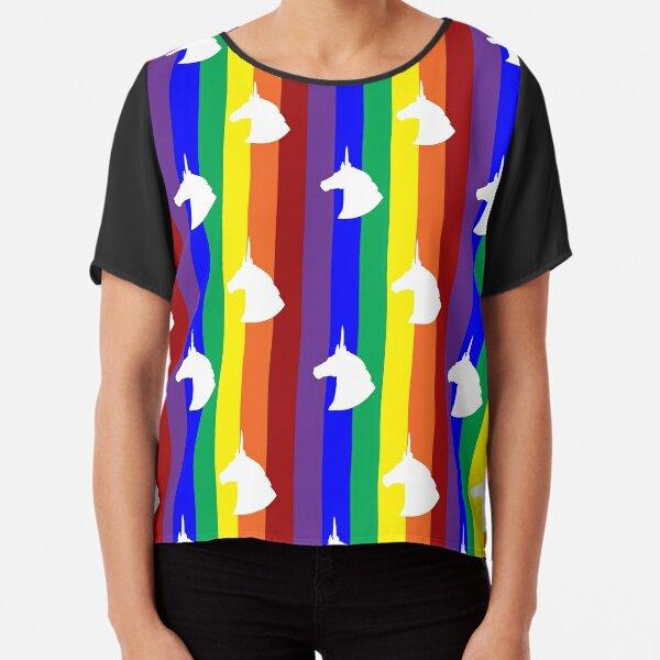 Rainbow Unicorn! Vertical Stripes! Chiffon Top