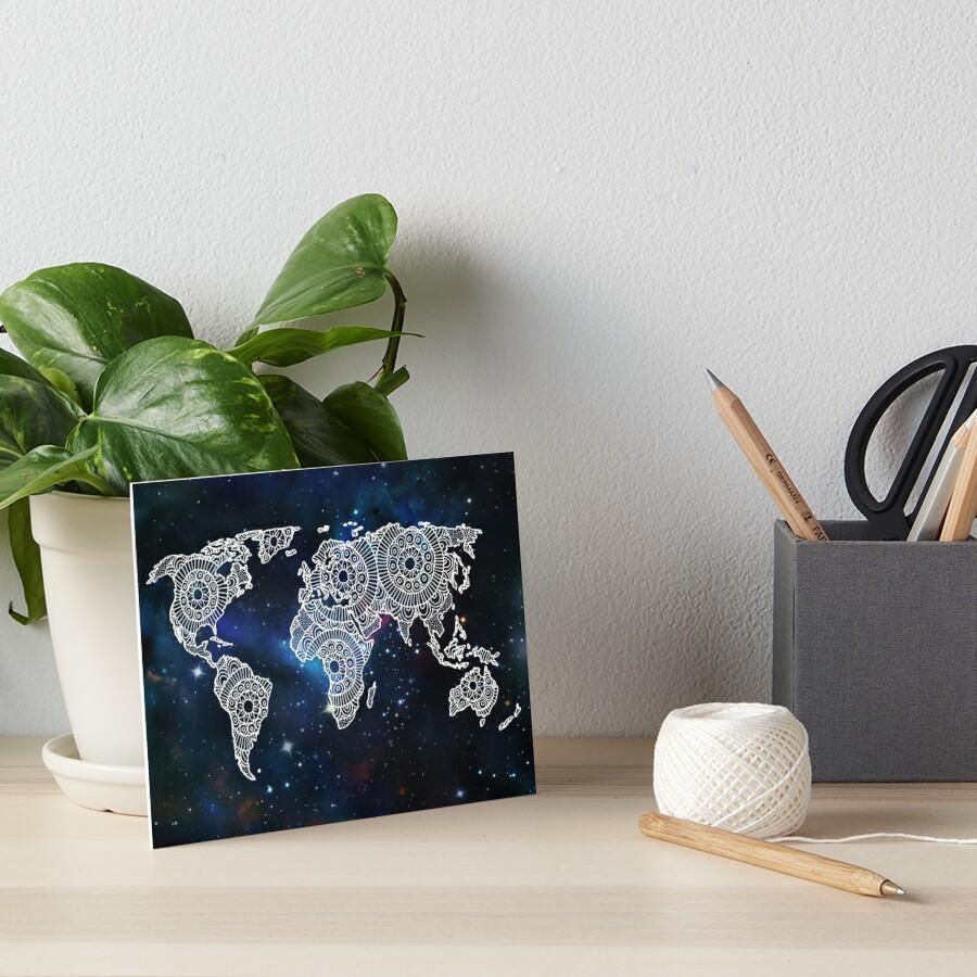 Galaxy Mandala World Map by julieerindesign