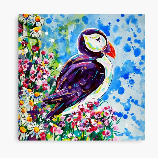 Puffin - acrylic painting Canvas Print