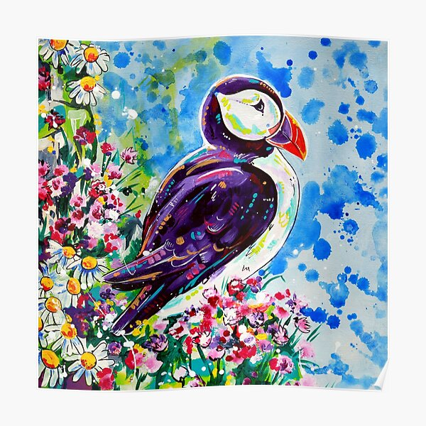 Puffin - acrylic painting Poster