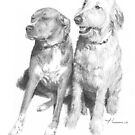 Dog friends drawing by Mike Theuer