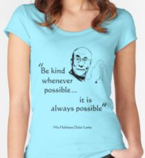 Be Kind: Dalai Lama (on light) Women's Fitted Scoop T-Shirt