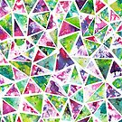 Cool Pink and Green Triangle Mosaic Pattern by ElephantTrunk