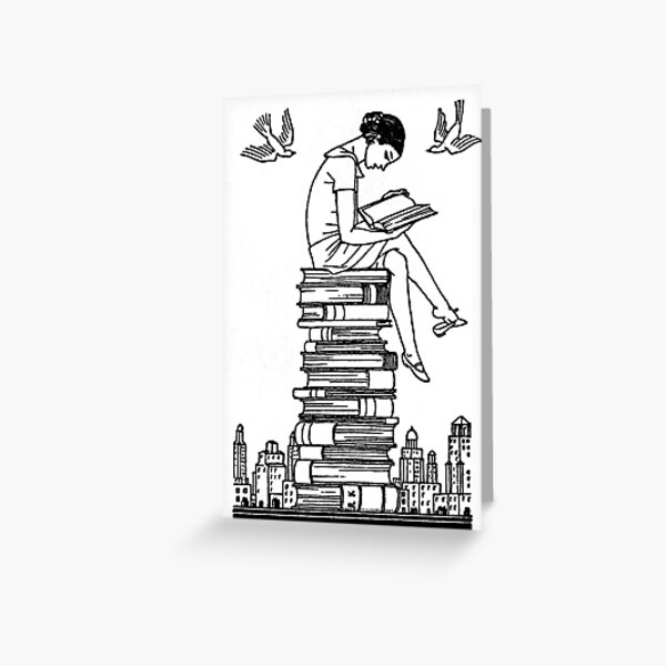 Book Lover on Top of Her World - vintage illustration by Rockwell Kent  Greeting Card