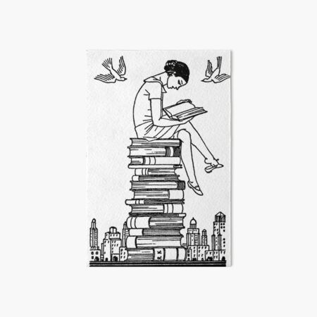Book Lover on Top of Her World - vintage illustration by Rockwell Kent  Art Board Print