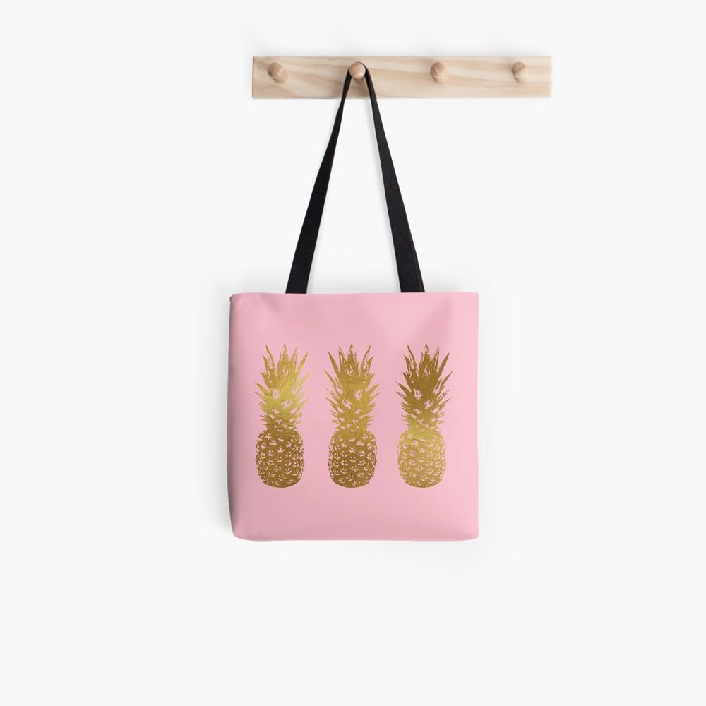 Rosa und Gold Ananas Tote Bag