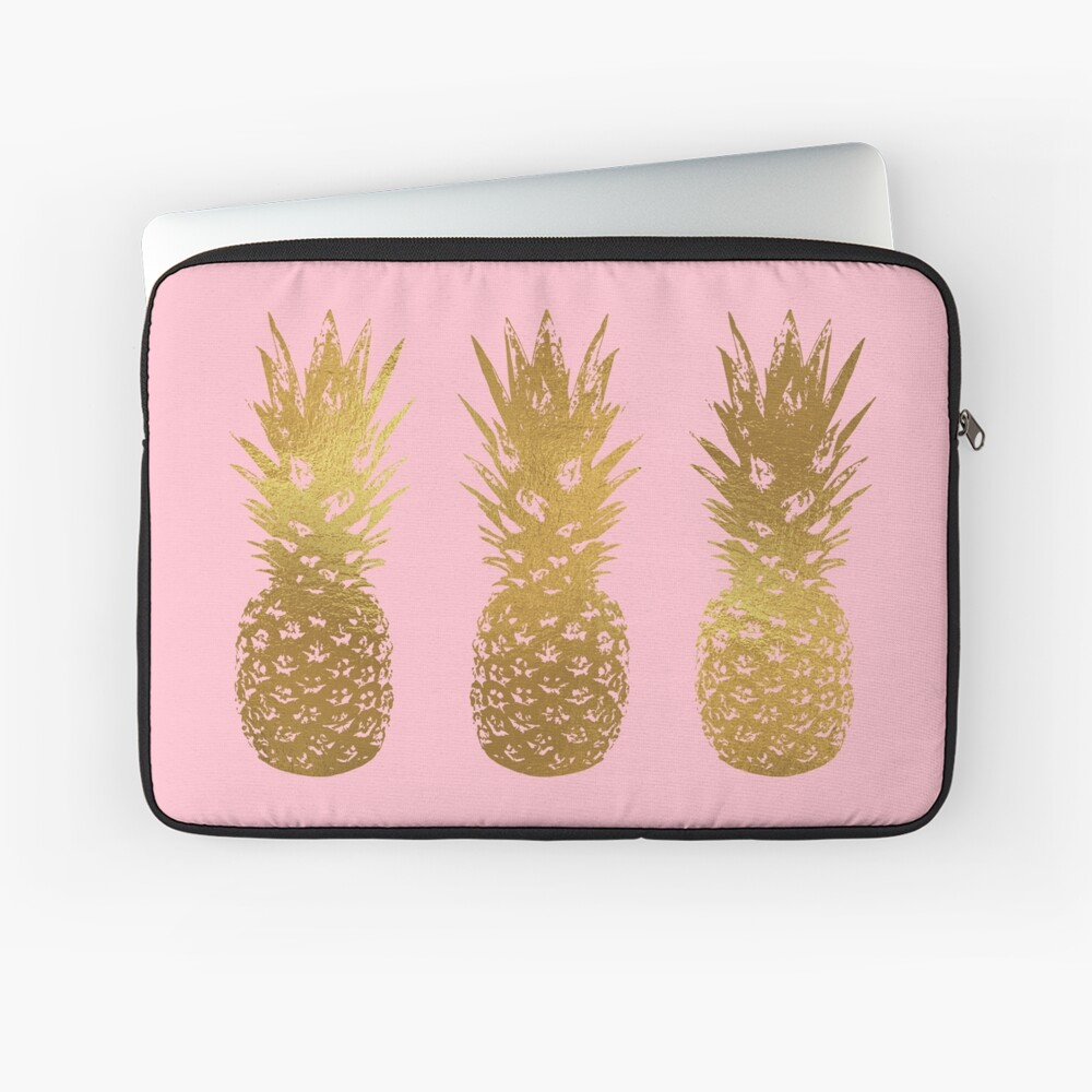 Pink and Gold Pineapple Laptop Sleeve
