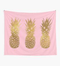 Rosa und Gold Ananas Wandbehang