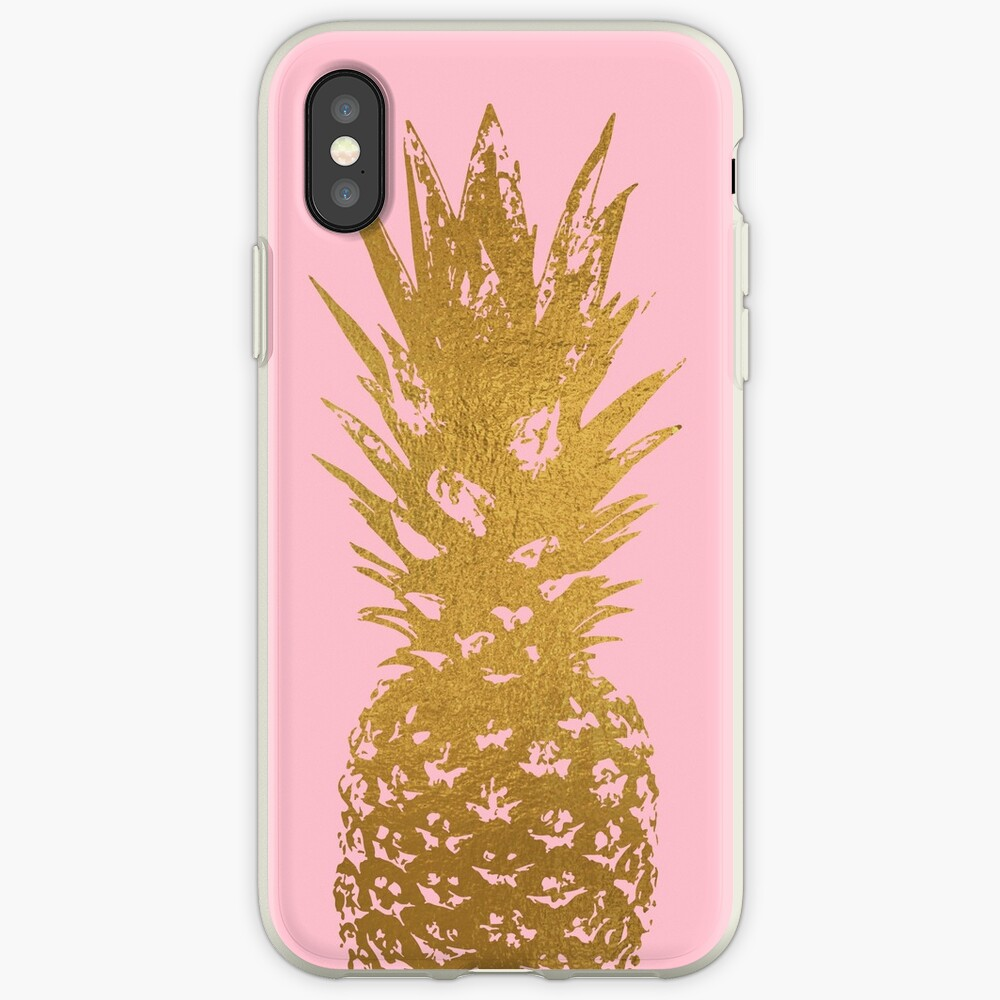 Rosa und Gold Ananas iPhone-Hülle & Cover