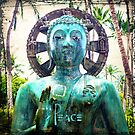 "Asian turquoise blue Buddha statue with ""Peace"" quote  by Luceworks"