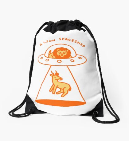 A Lion Spaceship Drawstring Bag