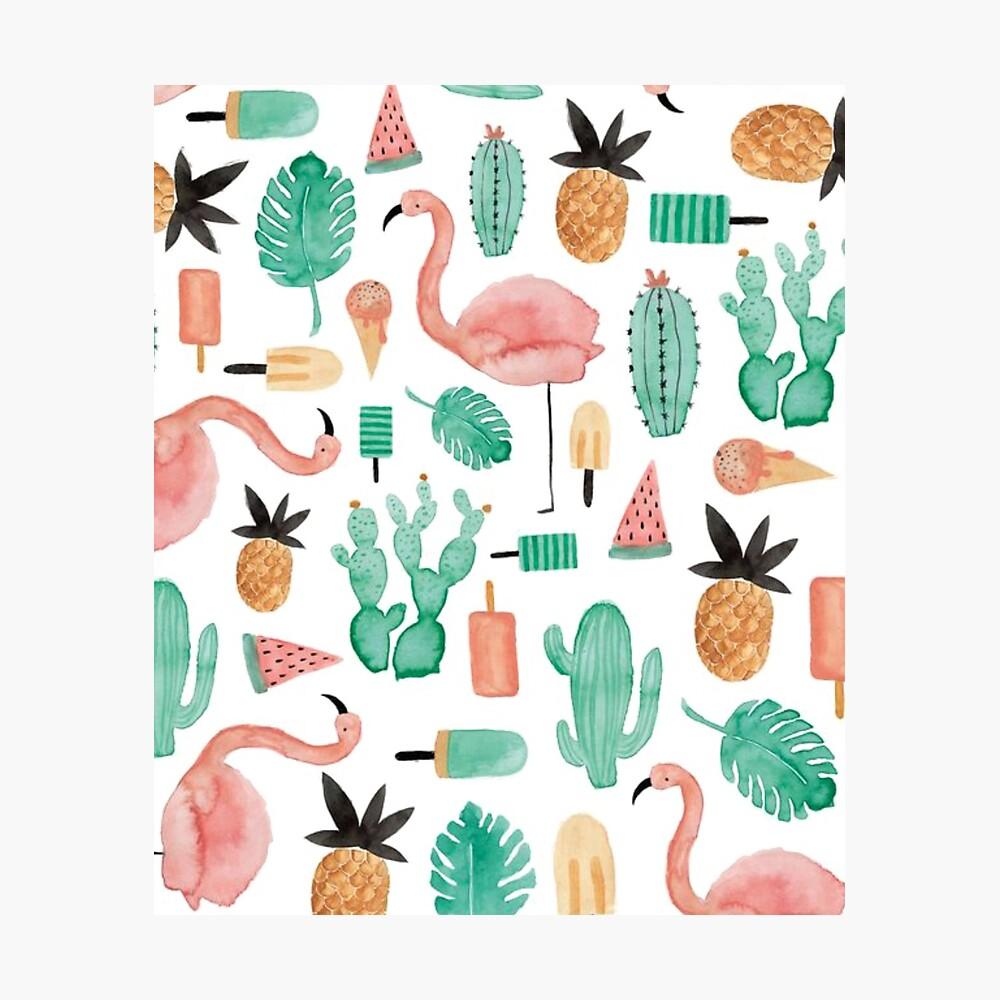 Flamingos, Cactus and Pineapples Photographic Print