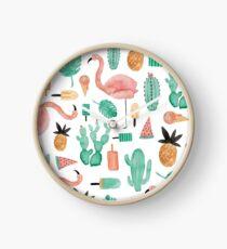 Flamingos, Cactus and Pineapples Clock