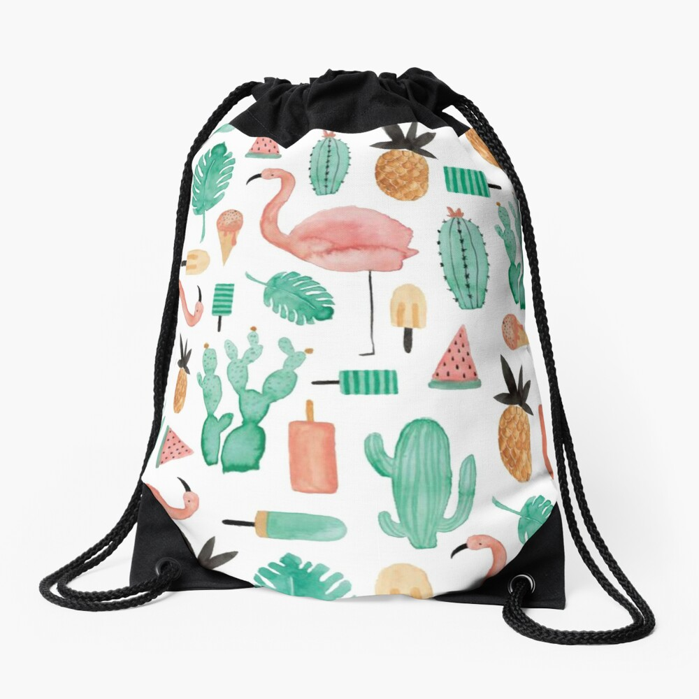 Flamingos, Cactus and Pineapples Drawstring Bag