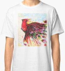 Floral Cardinal in Flight (White) Classic T-Shirt