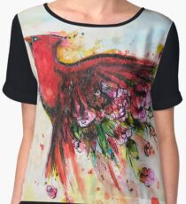 Floral Cardinal in Flight (White) Chiffon Top