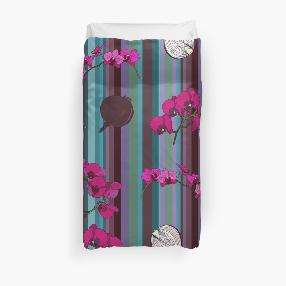 Orchids and Onions - stripe Duvet Cover
