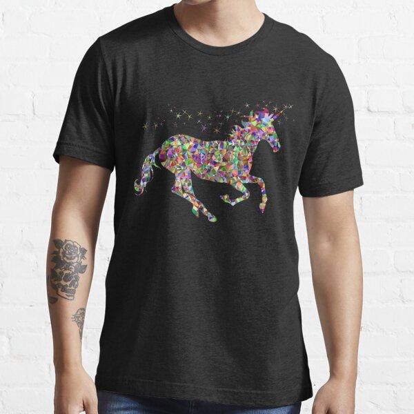 Chemise de licorne de glitter d'arc-en-ciel T-shirt essentiel
