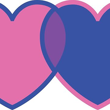 Bisexual Cross Over Pink and Blue Love Hearts by CreativeTwins