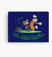calvin and hobbes dancing Canvas Print