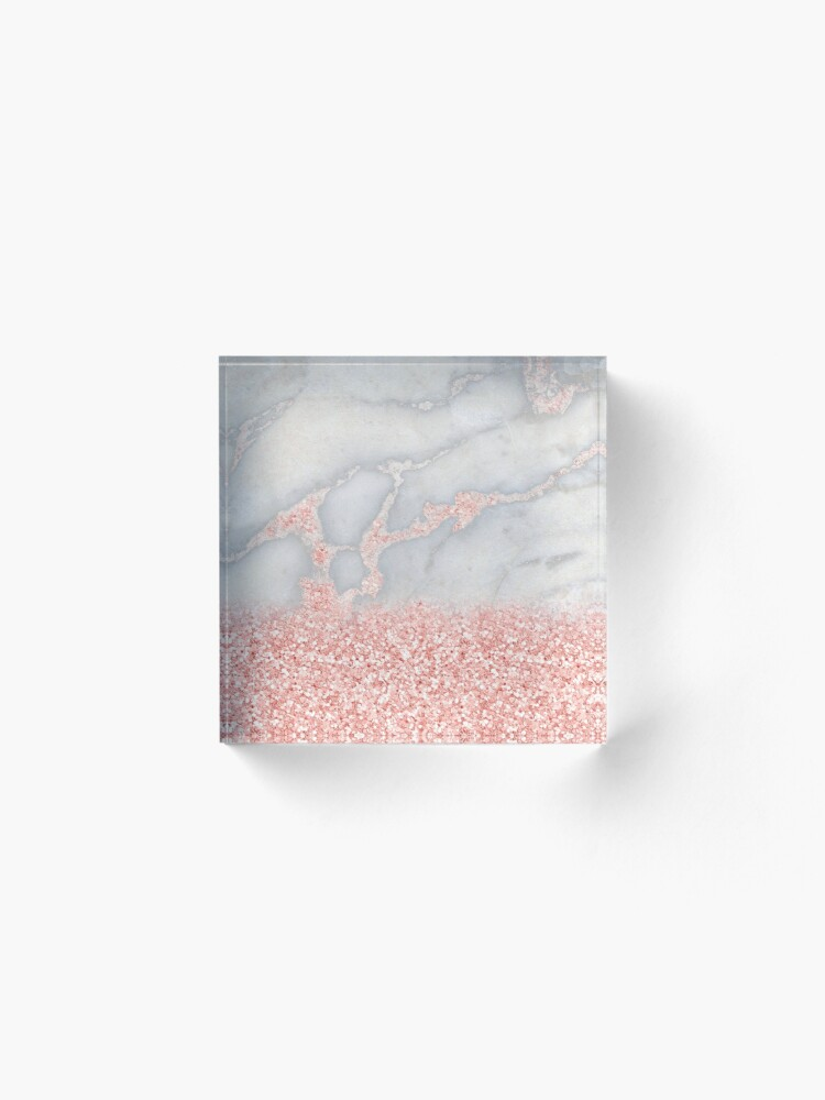Alternate view of Rosegold Glitter Pink Sparkle Faux Marble Acrylic Block